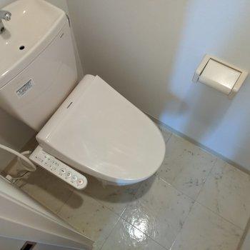 大理石風床のトイレ。
