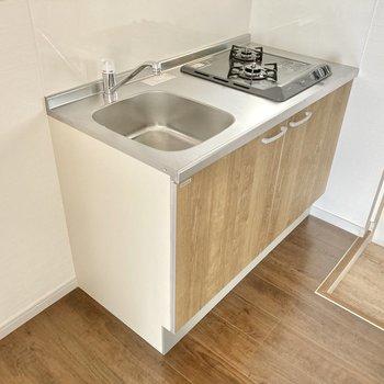 キッチンは2口コンロ。作業スペースは小さいですがまな板くらいは置けそうです。
