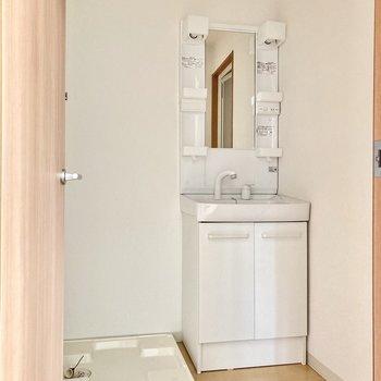 洋室の横にサニタリースペース!小さめだけど独立洗面台があるのは嬉しいなぁ。