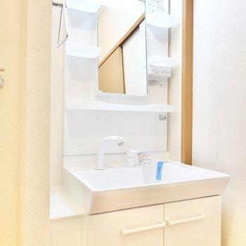 新しめで清潔な独立洗面台。(※写真は1階の同間取り別部屋のものです)