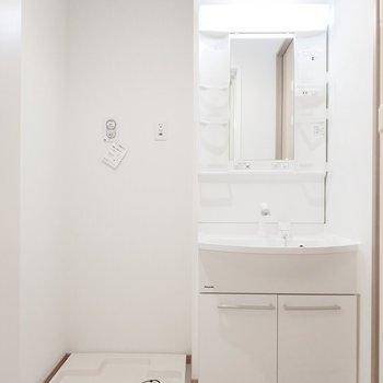 独立洗面所と、洗濯パンが横並びに!※写真は2階の同間取り別部屋のものです