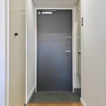 玄関もゆったりしています。手前の左側の扉の中は……