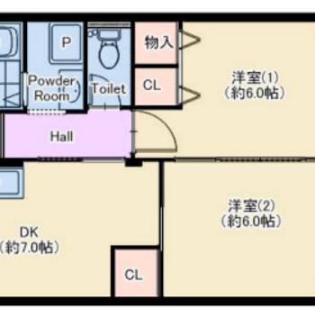 6畳の洋室が2つ!ゆったり使えそうですね