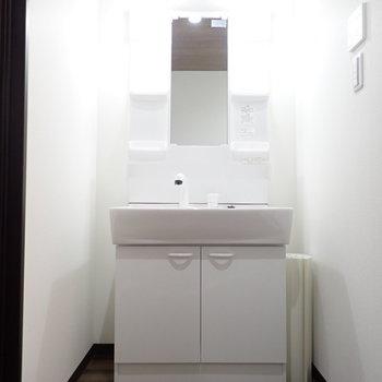 洗面台横に収納が置けます!※写真は同間取り別部屋のものです。