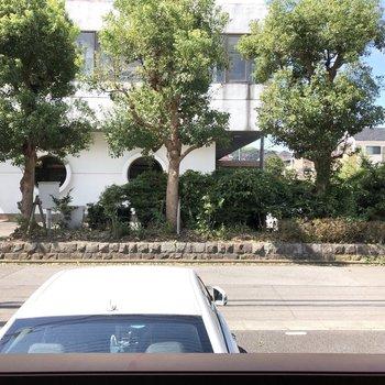 窓からの眺望です。道路までは少し距離があります。