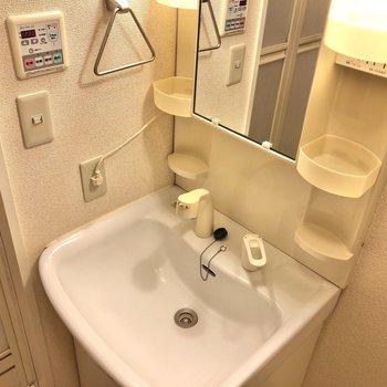 洗面台には、コンセントやタオル掛けもあります。