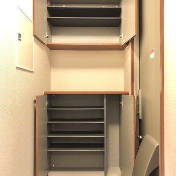 靴靴箱は上下2段に分かれています。