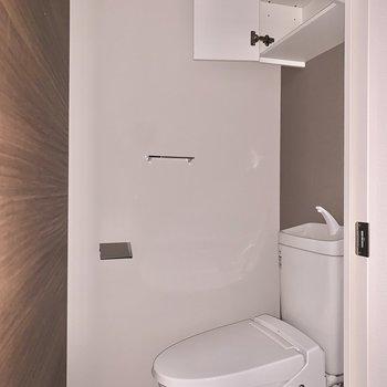 トイレは頭上に棚があるので、足元を広く使えますね。※フラッシュを使用しています