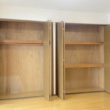 【洋室6帖西側】メインの収納スペースです。段が分けられているので、整理がしやすいですよ。