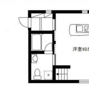 屋根裏スペースのある、デザイナーズ1R。
