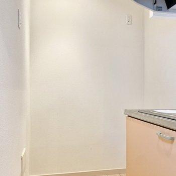 奥に冷蔵庫が置けますよ。アースを取れるコンセントは2箇所。