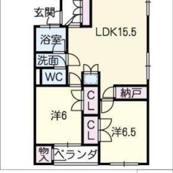 間取りは2LDK。それぞれの個室も広めです。
