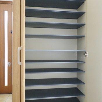 LDK側の靴箱は1段に3足ほど入る大きさ。
