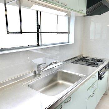 シンクの左右の調理スペースと水切りラックが、調理も片付けも楽にしてくれそう。