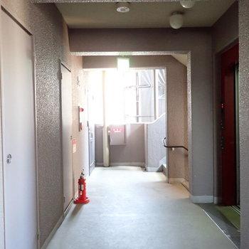 共用部】ゆとりのある廊下です。