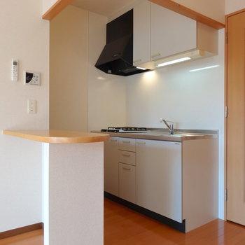 カウンターがうれしいゆったりキッチン(※写真は9階の反転間取り別部屋のものです)