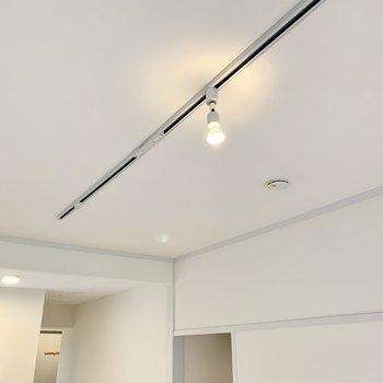 洋室の照明はライティングレール。好きな照明を選ぶのもたのしいな。