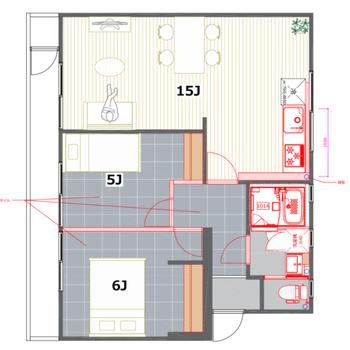 広いリビングと、幅広なバルコニーが特徴なお部屋!