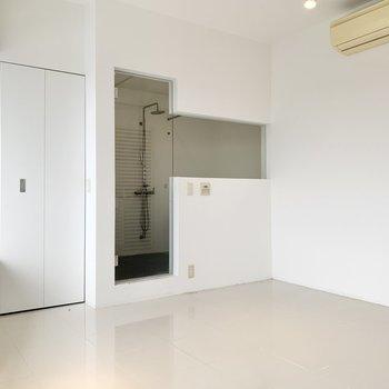 洋室スペースにはガラス張りの浴室。