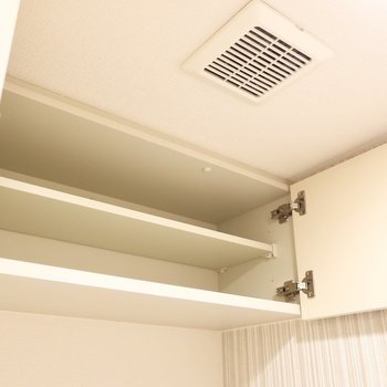上部収納も有効活用しましょう(※写真は12階の同間取り別部屋、モデルルームのものです)