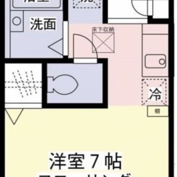 約7帖の居室がある1Rタイプのお部屋です。