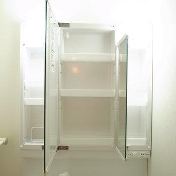 細々した洗面用品は鏡の中に。