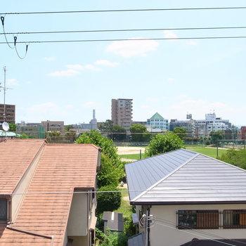 低めの住宅ばかりなのですばらしい見晴らしです!日差しと、青々とした色に目がくらみました。