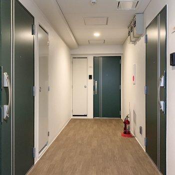 共用廊下は清潔感があり静かな雰囲気でした。