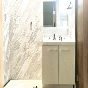 洗面台と洗濯機置き場はお風呂とトイレの間にあります