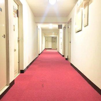 赤い絨毯がホテルみたい