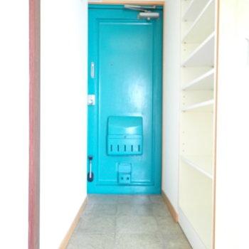 青い玄関。なにかを思い出します。玄関は扉で隠せるようになっています。