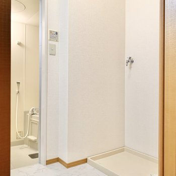 サニタリーの扉を開けると洗濯機置き場があります。