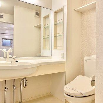 大きな鏡の付いた洗面台なので身だしなみチェックもしやすいです。