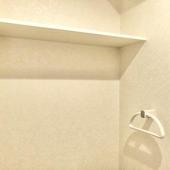 ちょっとした棚とタオルハンガー付き。