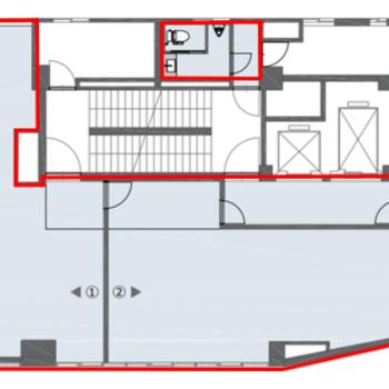 1フロアを貸し出します。※青床部分が貸床です。※7Fはトイレは付きません