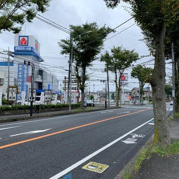 歩いて約2分で大通り沿いへ。家電量販店があります