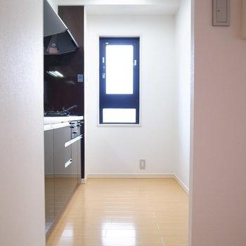 キッチンは食器棚を置くと少し狭く感じるかもしれません。冷蔵庫を置くスペースはご用意してます!