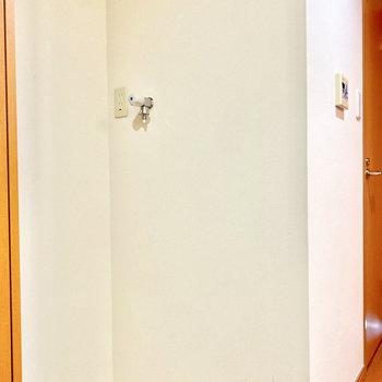 室内洗濯機置き場は玄関入って左です。