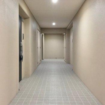 共用廊下は室内で、綺麗に清掃されていました。