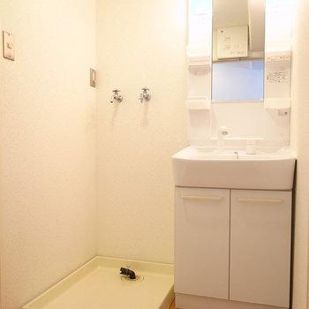 洗面脱衣所に、洗濯機置き場もいっしょです。