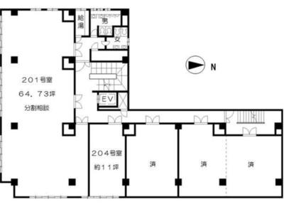 新宿御苑前 36.34坪 オフィス の間取り