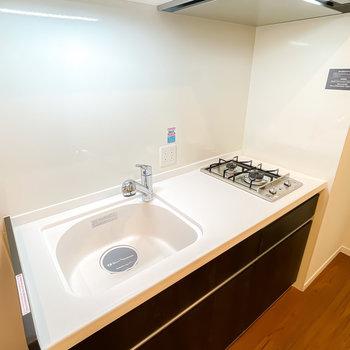 シンプルな2口コンロですが、スペースも広くしっかり自炊ができそうです。