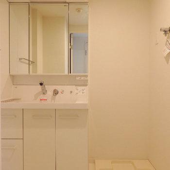 独立洗面台。幅の広いタイプです(※写真は2階の反転間取り別部屋のものです)