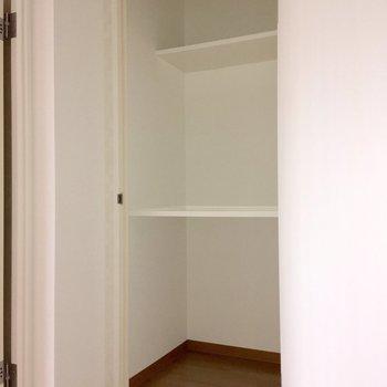 向かいにもう一個。アウトドア用品なんかはここに入れておけそう。※写真は4階の同間取り別部屋のものです