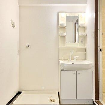 収納付きの独立洗面台と洗濯機置き場があります。