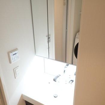 洗面台は鏡がたっぷりめ。(※写真は4階の同間取り別部屋のものです)