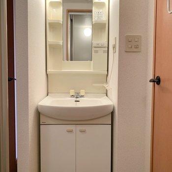 清潔感ある独立洗面台です※写真は1階の同間取り別部屋のものです