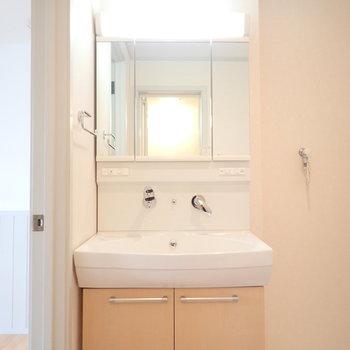 独立洗面台は清潔感◎(※写真は1階の反転間取り別部屋のものです)