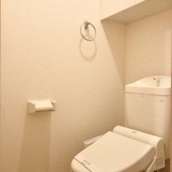 真っ白なトイレは清潔感があります。