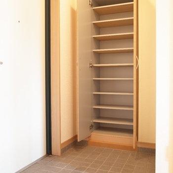 靴箱だってこんなに収納できます。(※写真は6階の同間取り別部屋のものです)